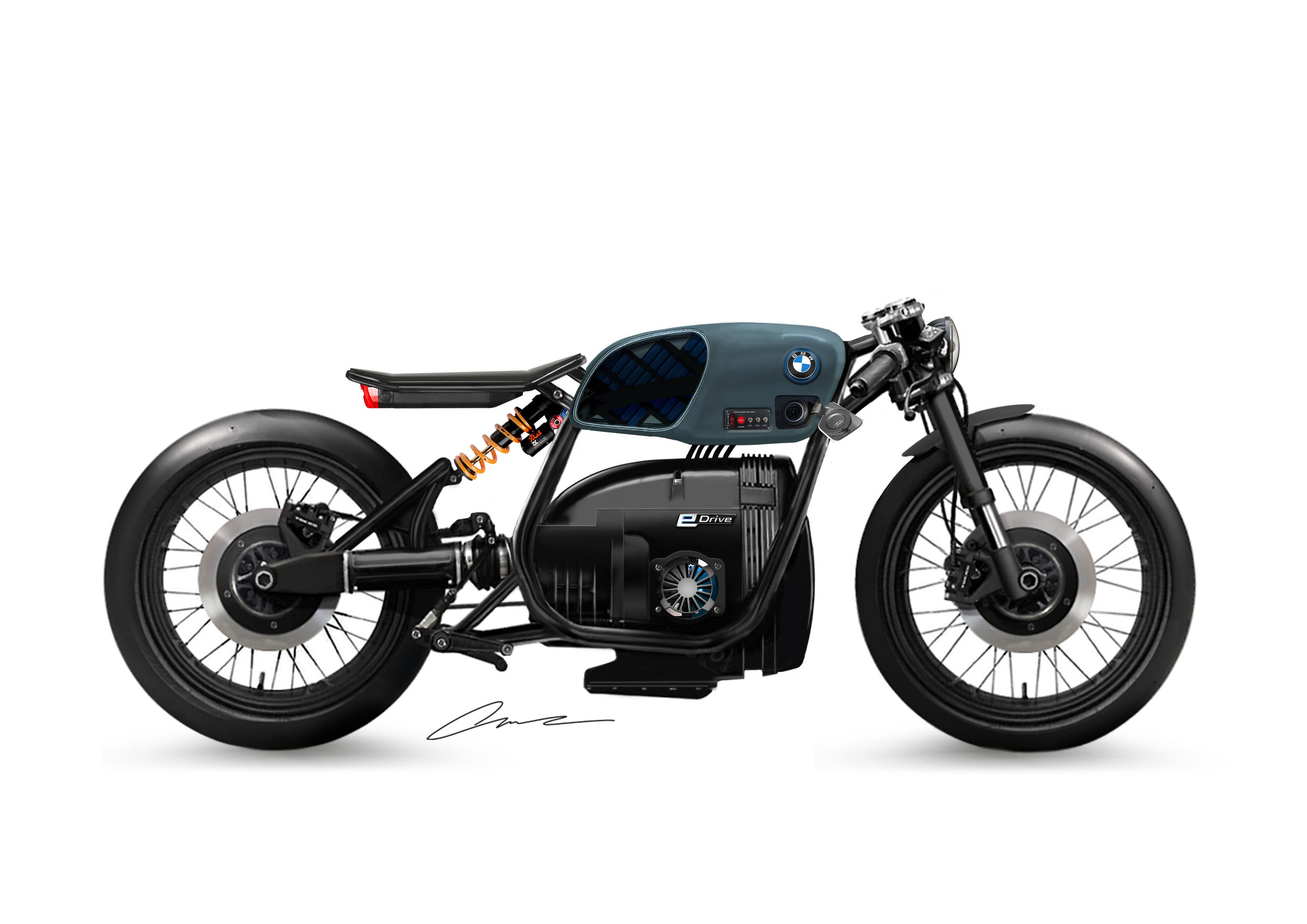 BMW ER80 electric motorcycle form study by Luuc Muis | EvNerds