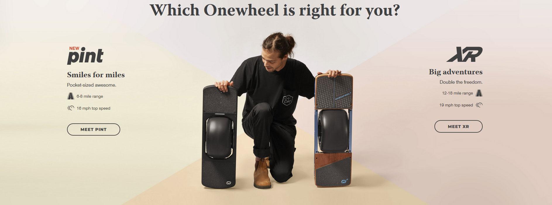 950 USD Onewheel Pint is a smaller version of Onewheel XR